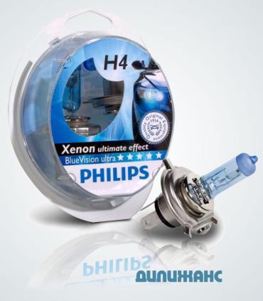 Галогенні лампи Philips BlueVision ultra H4
